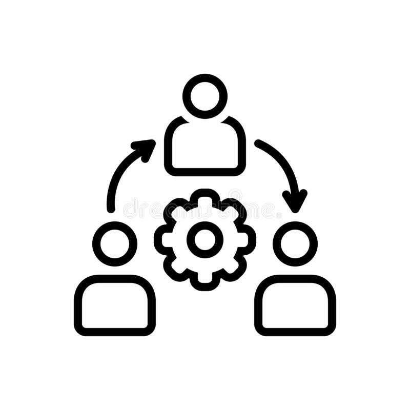 Schwarze Linie Ikone für Organisation, Konglomerat und Konsortium stock abbildung