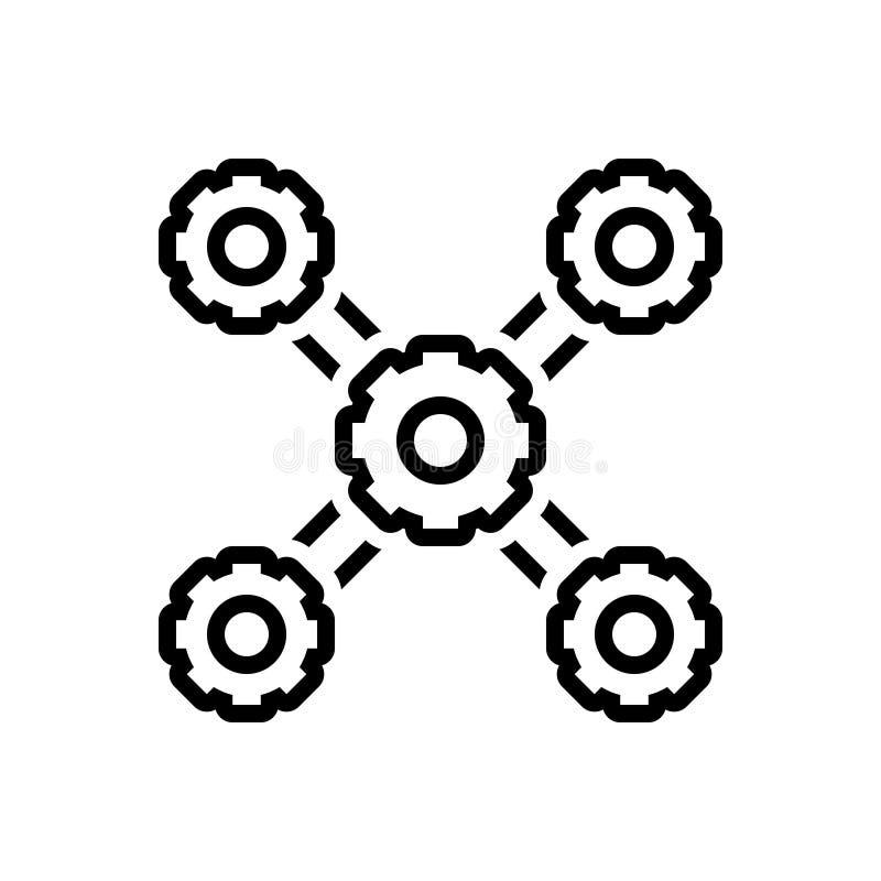 Schwarze Linie Ikone für Organisation, Management und Struktur lizenzfreie abbildung