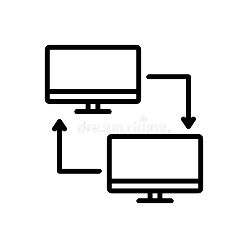 Schwarze Linie Ikone für PC-Anteil, -übertragung und -computer stock abbildung