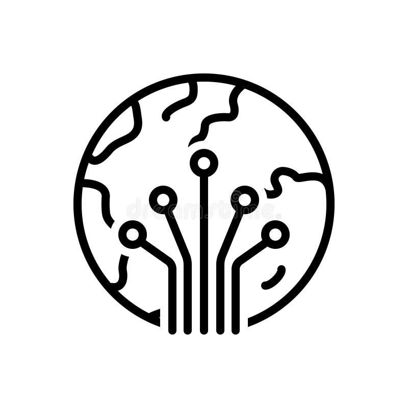 Schwarze Linie Ikone für Photonik, Faser und Optik lizenzfreie abbildung