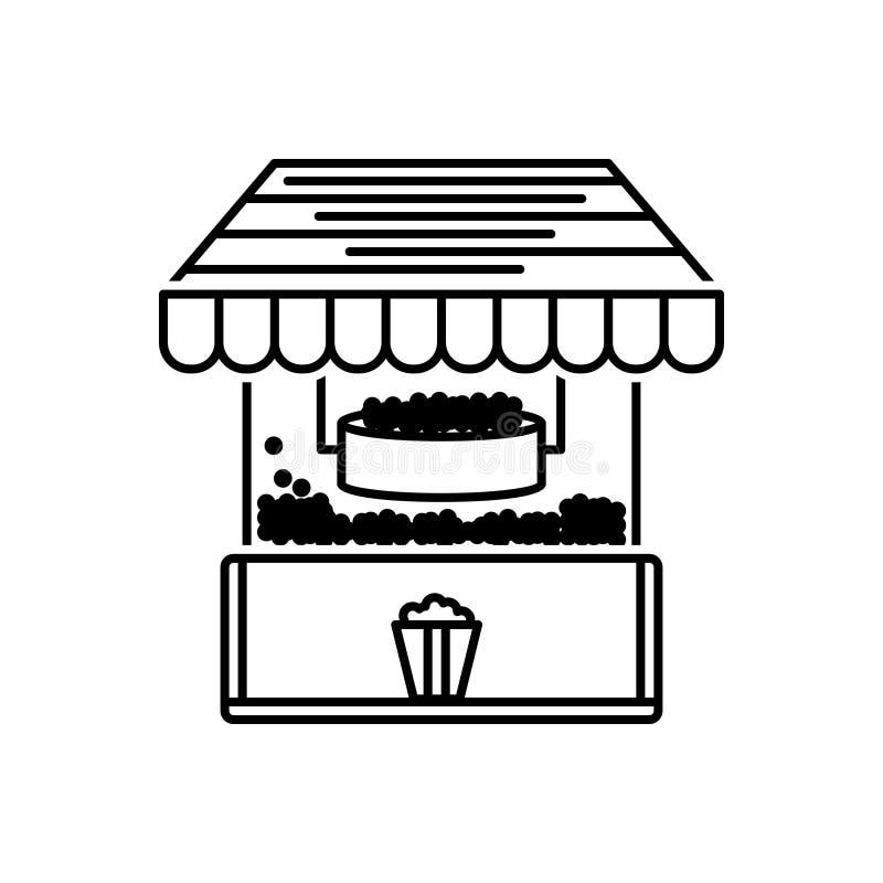 Schwarze Linie Ikone für Popcorn, Maschine und Hersteller stock abbildung