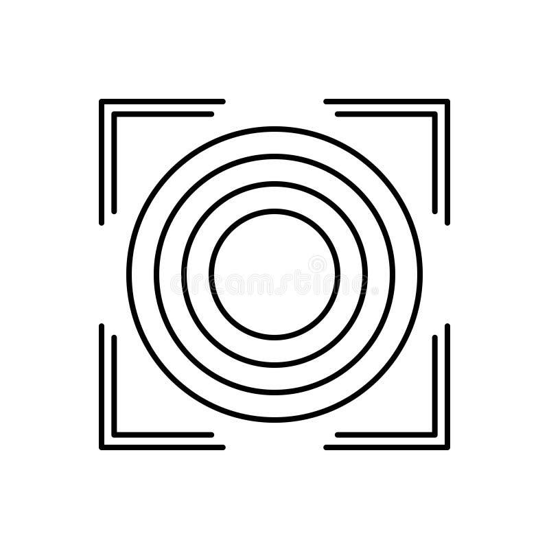Schwarze Linie Ikone für Präzision, Genauigkeit und Reinheit stock abbildung
