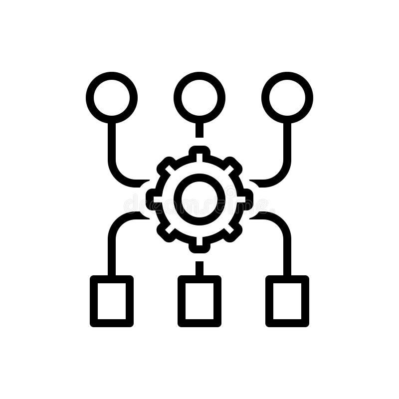 Schwarze Linie Ikone für Programm-Algorithmus, Zugang und Anwendung lizenzfreie abbildung