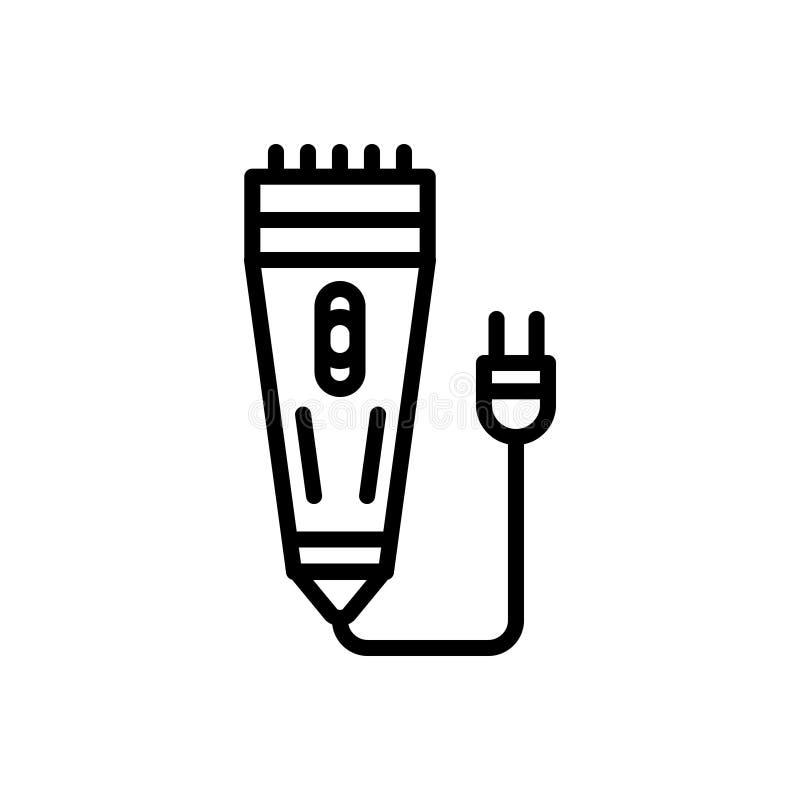 Schwarze Linie Ikone für Rasiermesser, das Rasieren und Rasierapparat vektor abbildung