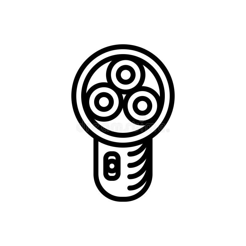 Schwarze Linie Ikone für Rasiermesser, das Rasieren und Schönheit stock abbildung