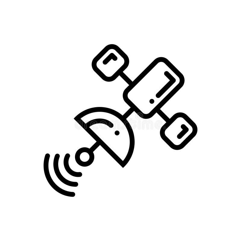 Schwarze Linie Ikone für Satelliten, Netz und Teller vektor abbildung