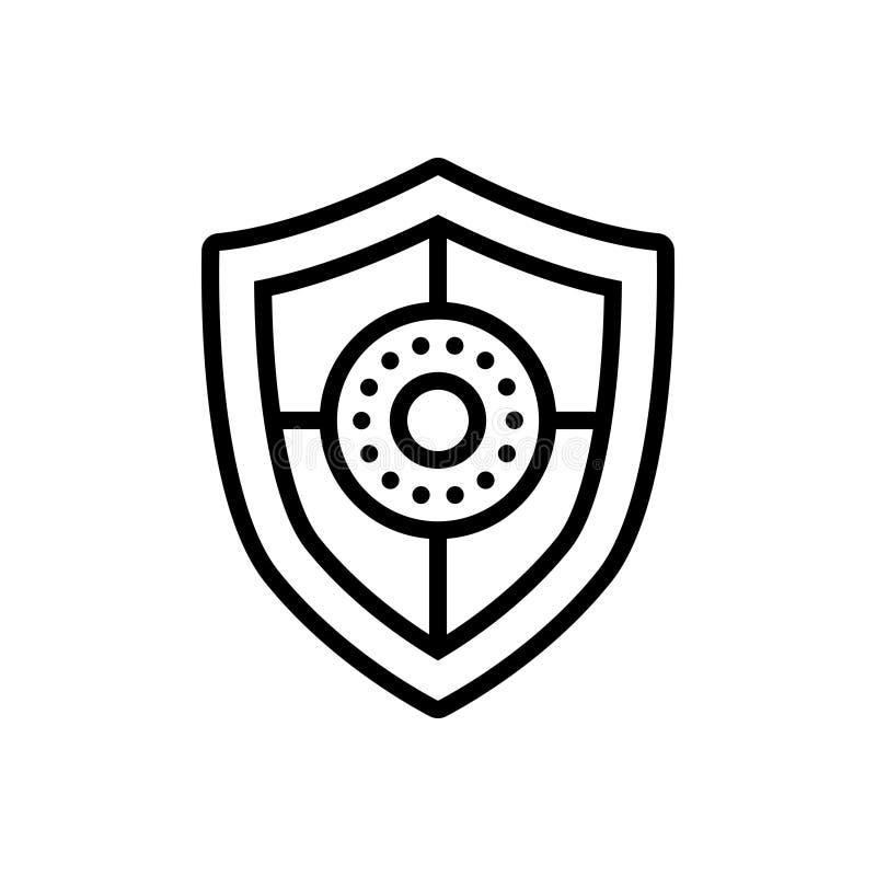 Schwarze Linie Ikone für Schild, Schutz und Verteidigung stock abbildung