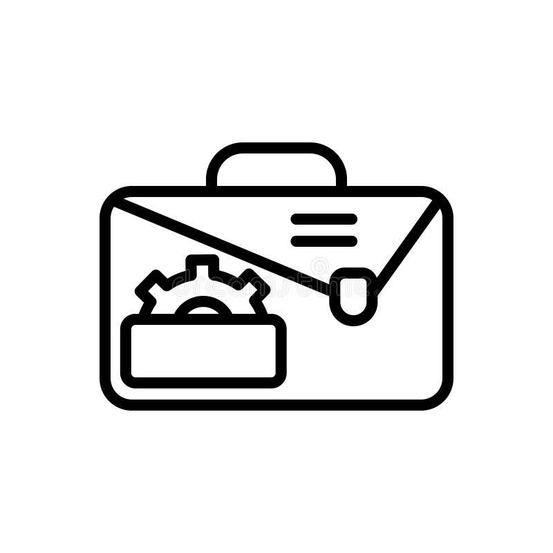 Schwarze Linie Ikone für Service, Portfolio und kreatives lizenzfreie abbildung