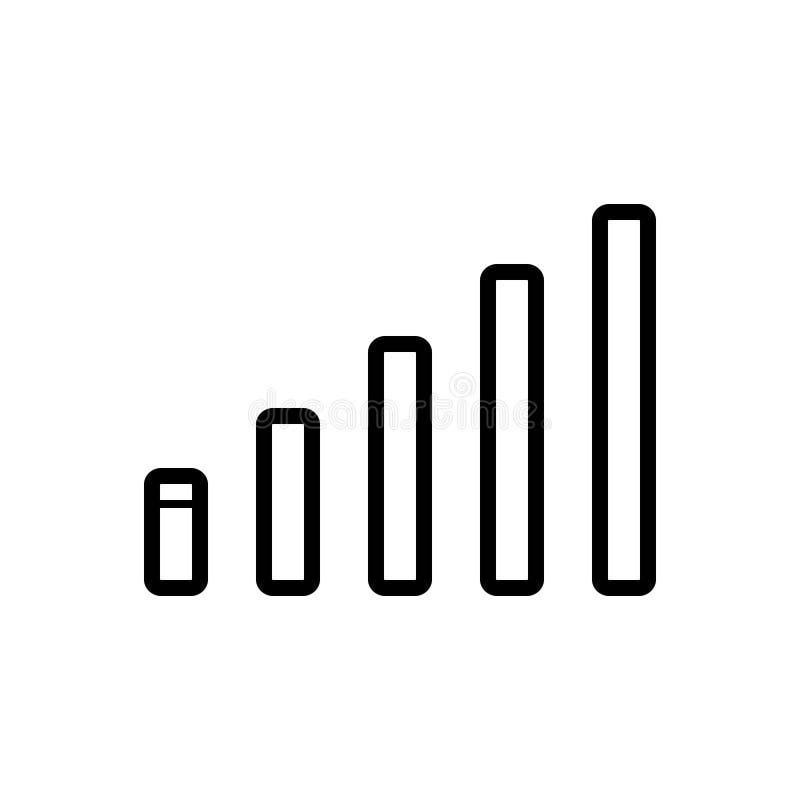 Schwarze Linie Ikone für Signalstangen, -Mobiltelefon und -netz vektor abbildung