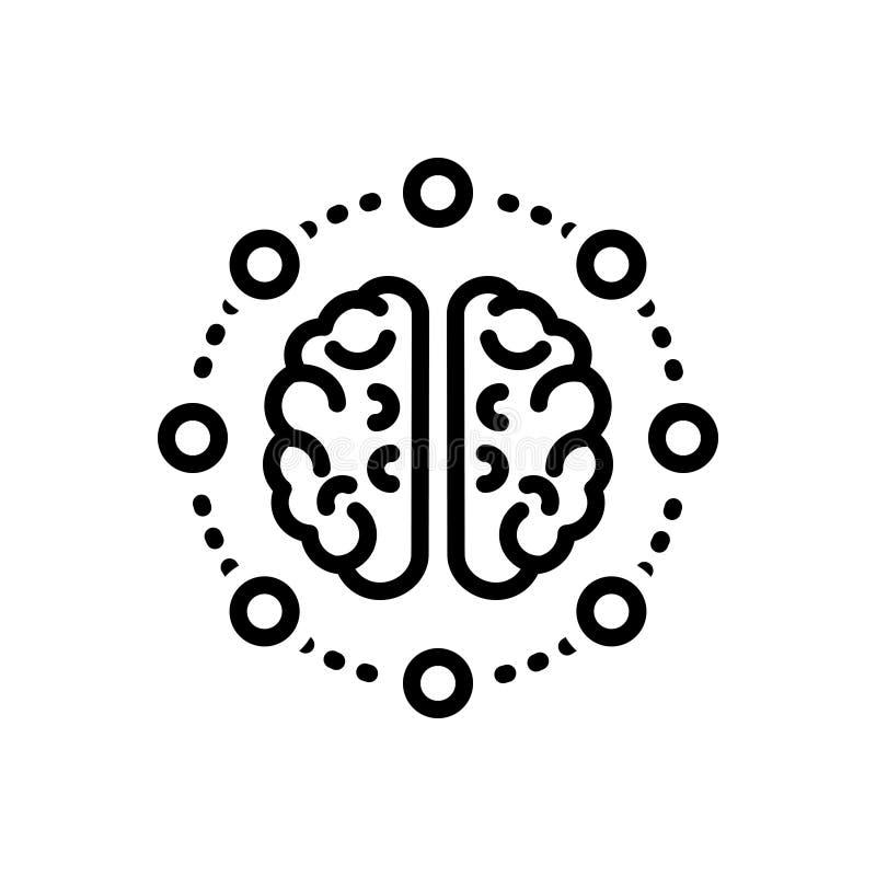 Schwarze Linie Ikone für Sinnesanteil, -gedanken und -neuron vektor abbildung