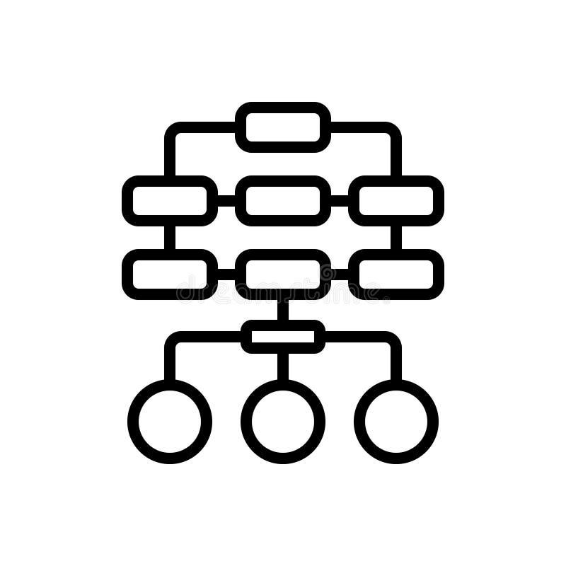 Schwarze Linie Ikone für Sitemap, Plan und Hierarchie stock abbildung