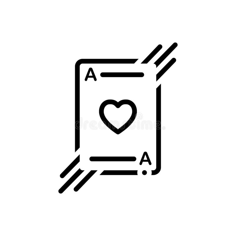 Schwarze Linie Ikone für Spielkarte, Kasino und Schürhaken stock abbildung