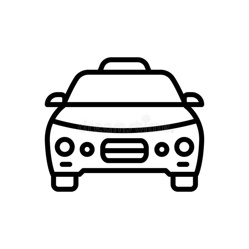 Schwarze Linie Ikone für Taxi, Fahrerhaus und Fahrzeug vektor abbildung