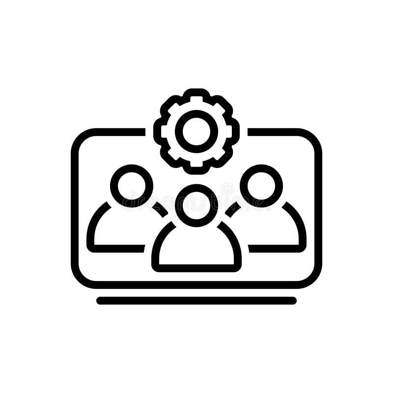 Schwarze Linie Ikone für Team Working, Arbeitskräfte und Unternehmens stock abbildung