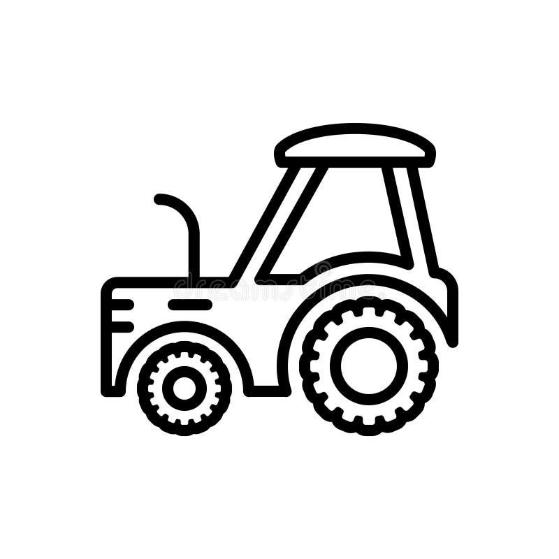 Schwarze Linie Ikone für Traktor, Bauernhof und die Landwirtschaft stock abbildung