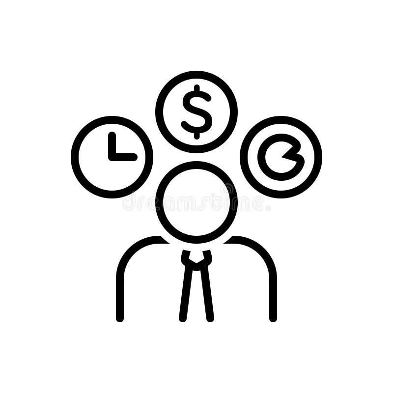 Schwarze Linie Ikone für Unternehmer, Dealmaker und Arbeitstier lizenzfreie abbildung