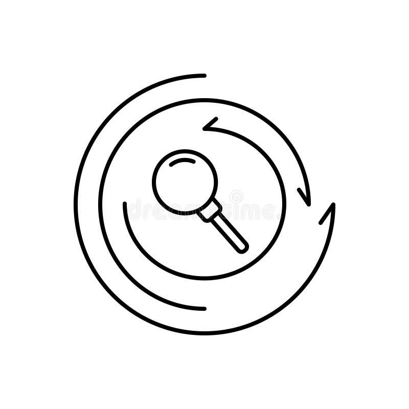 Schwarze Linie Ikone für Untersuchung, Untersuchung und kreatives lizenzfreie abbildung