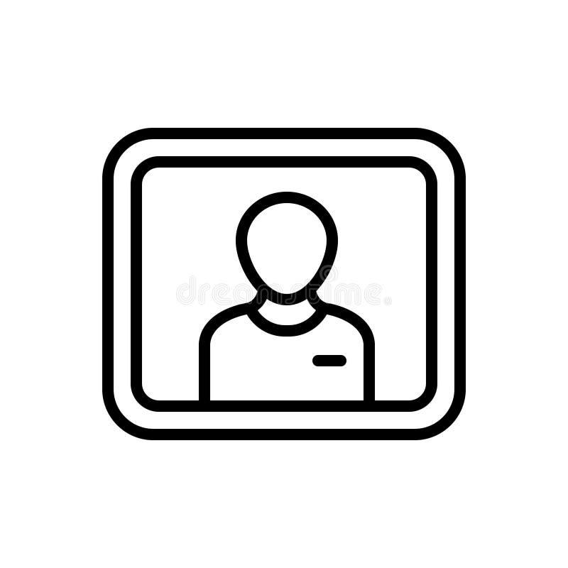 Schwarze Linie Ikone für username, Passwort und Schutz stock abbildung
