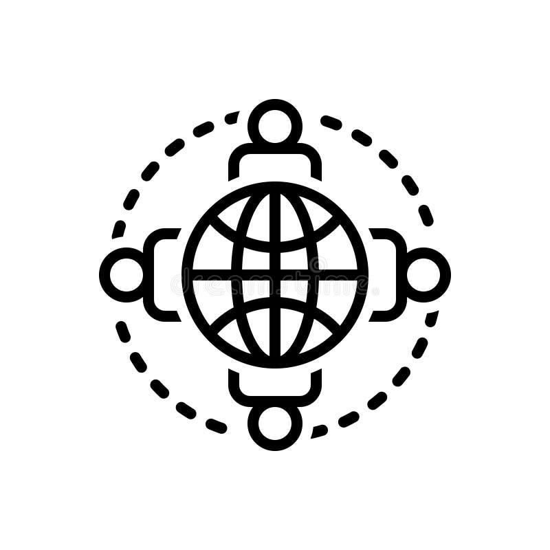 Schwarze Linie Ikone für verbundene Personen, um die Erde und die Einheit vektor abbildung