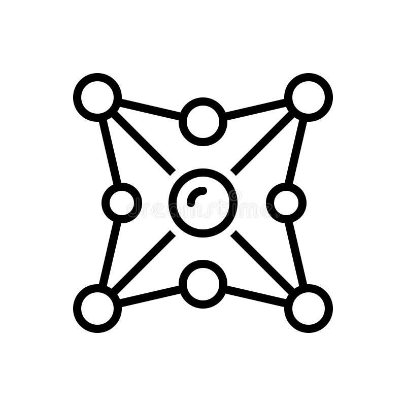 Schwarze Linie Ikone für Vernetzung, Netz und Organisation lizenzfreie abbildung