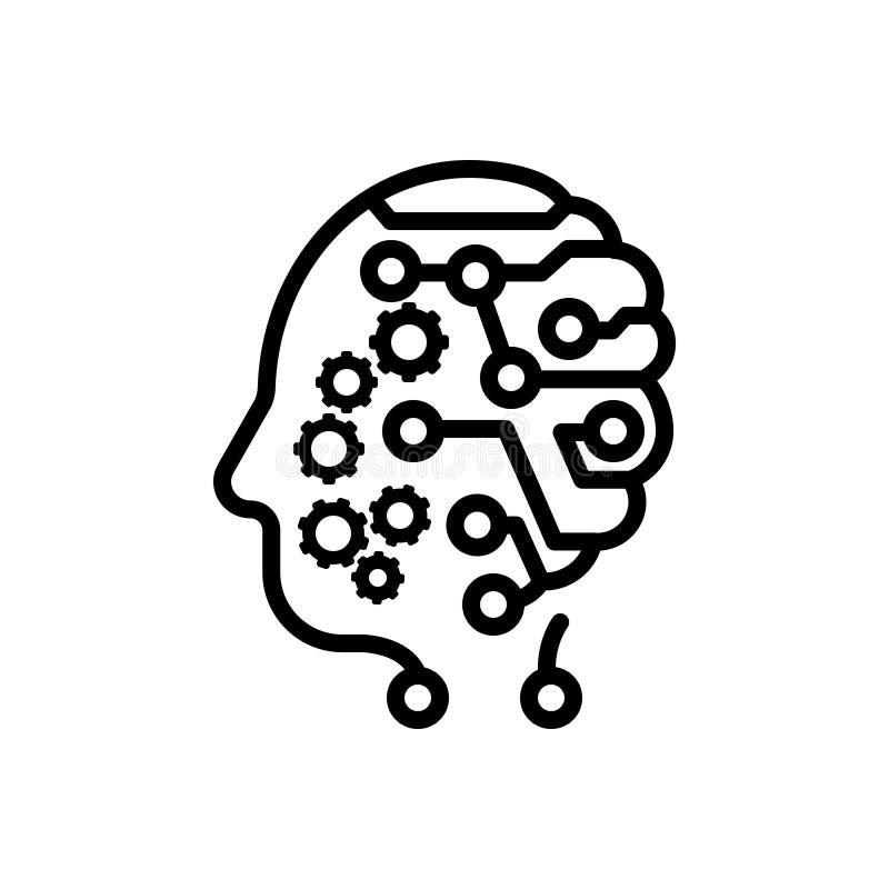 Schwarze Linie Ikone für Verstand, Kopfbedeckung und Richtung vektor abbildung
