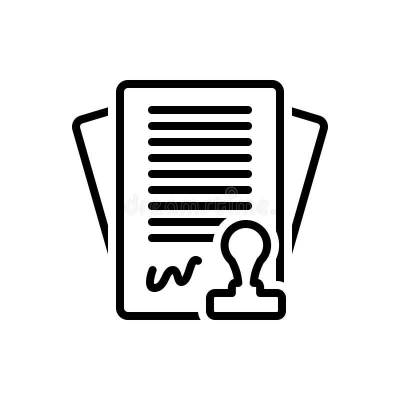 Schwarze Linie Ikone für Vertrag, Regelung und Bindung vektor abbildung