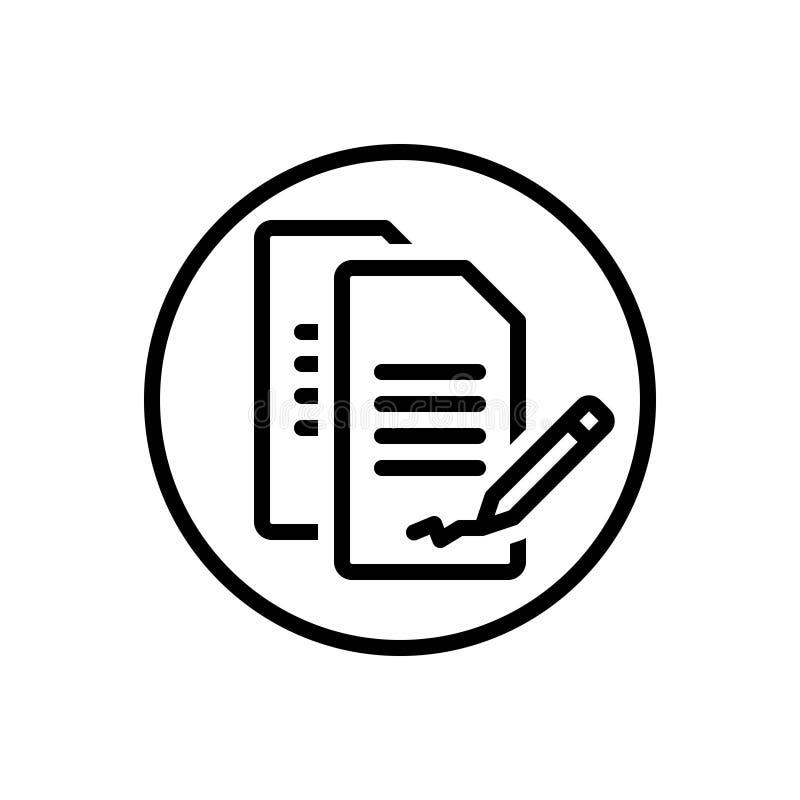 Schwarze Linie Ikone für Vertrag, Vereinbarung und Bindung vektor abbildung