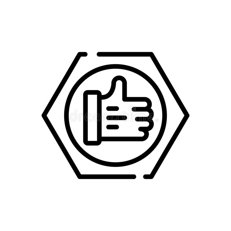 Schwarze Linie Ikone für Vertrauen, glauben und Vertrauen stock abbildung