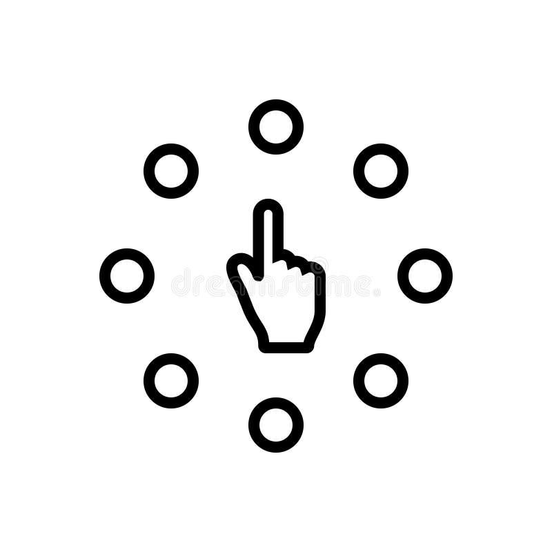 Schwarze Linie Ikone für Wahl, Wahlen und Vielzahl stock abbildung