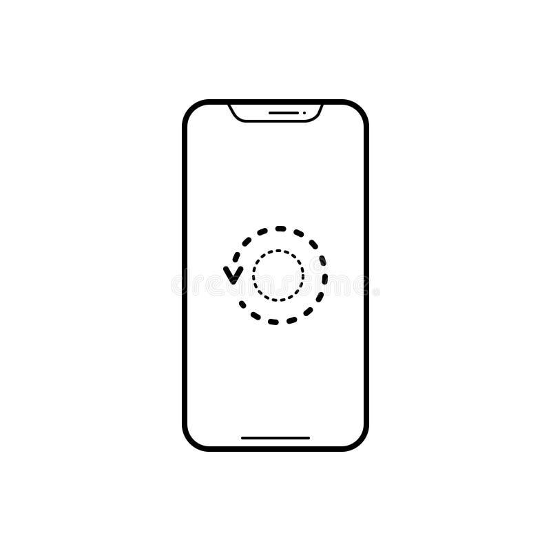 Schwarze Linie Ikone für Wiederanlaufstelefon, -gerät und -software stock abbildung