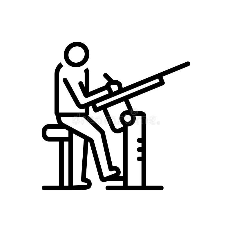 Schwarze Linie Ikone für Zeichner, Mann und Angriff lizenzfreie abbildung