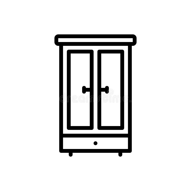 Schwarze Linie Ikone f?r Garderobe, M?bel und Schrank lizenzfreie abbildung