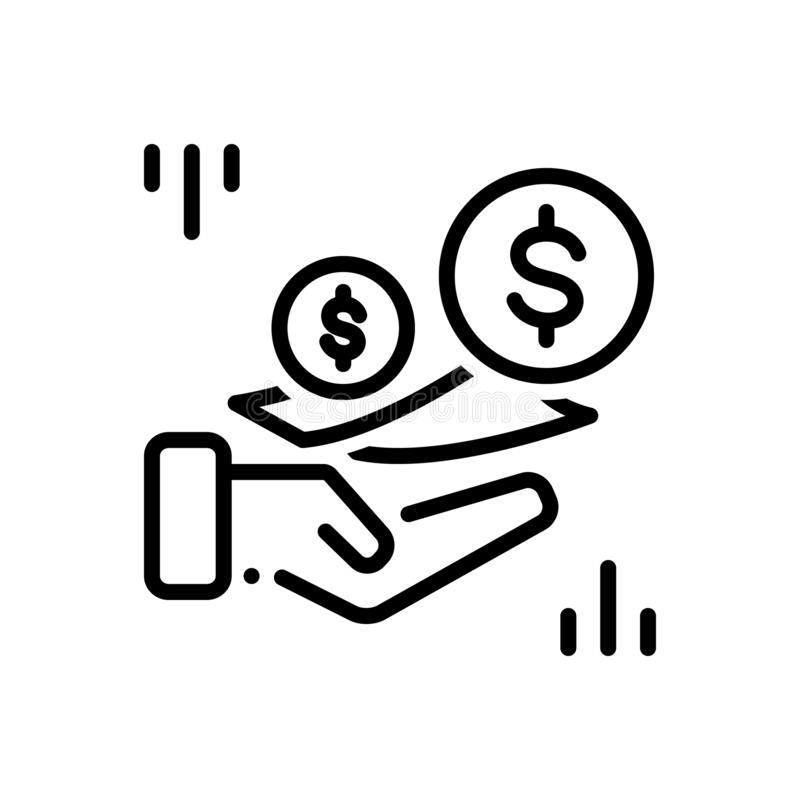 Schwarze Linie Ikone gegen Gebühren, Gebühren und Währung lizenzfreie abbildung