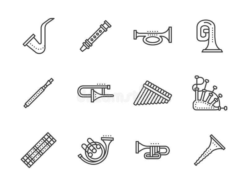 Schwarze Linie Ikonen der Musikinstrumente des Winds vektor abbildung
