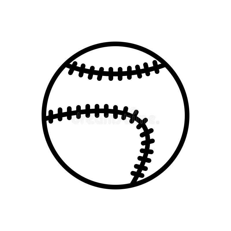 Schwarze Linie Symbol für Baseball, Liga und Kreis stock abbildung