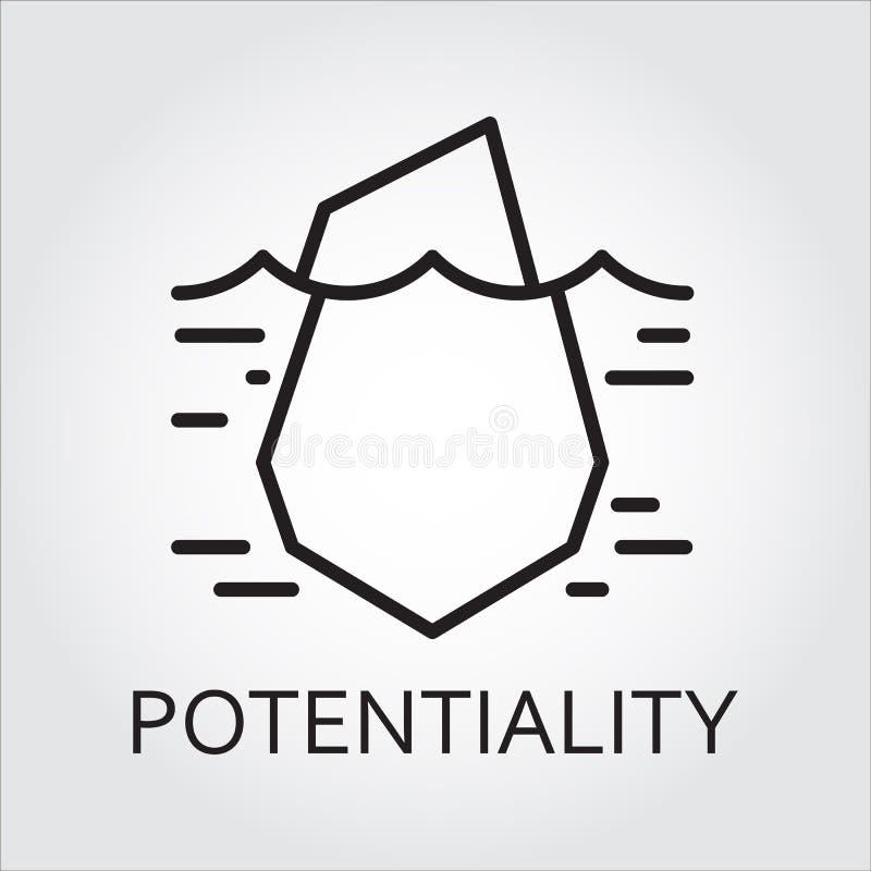 Schwarze Linie verstecktes Potenzial und Gelegenheit des Vektors Ikone als Eisberg lizenzfreie abbildung