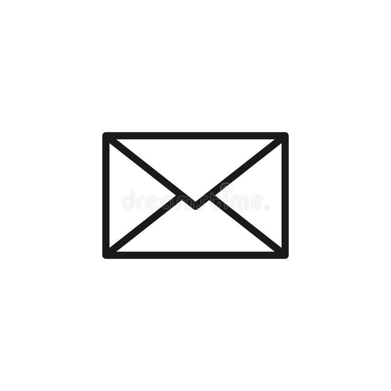 Schwarze lokalisierte Entwurfsikone des Postumschlags auf weißem Hintergrund Linie Ikone des Umschlags E-Mail, Post vektor abbildung