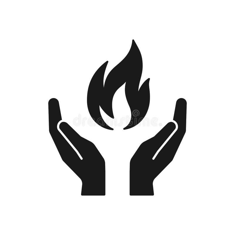 Schwarze lokalisierte Ikone der Flamme in den Händen auf weißem Hintergrund Schattenbild des Feuers und der Hände Symbol des Heil lizenzfreie abbildung