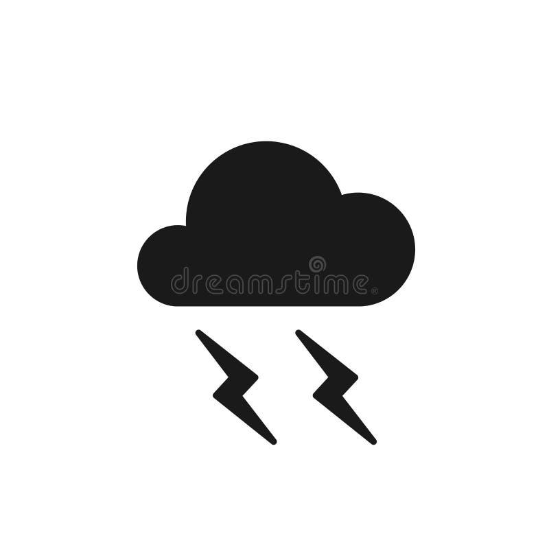 Schwarze lokalisierte Ikone der Wolke mit Blitz auf weißem Hintergrund Schattenbild des Donners, Gewitter Flaches Design stock abbildung