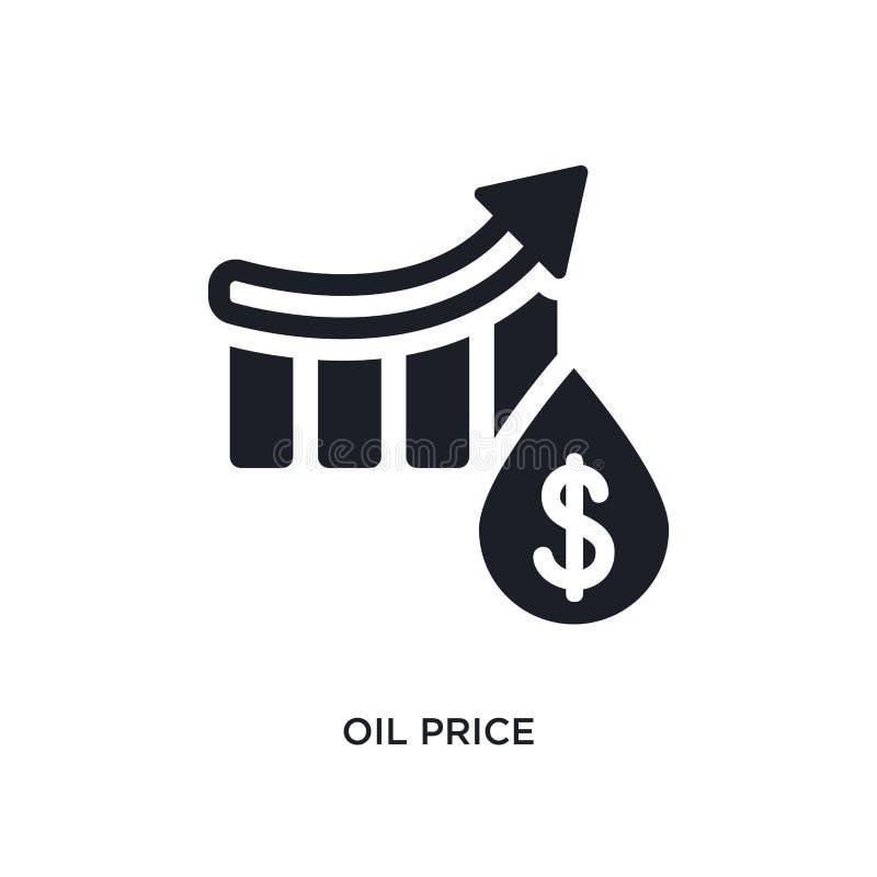 schwarze lokalisierte Vektorikone des Ölpreises einfache Elementillustration von den Industriekonzept-Vektorikonen editable Logo  lizenzfreie abbildung