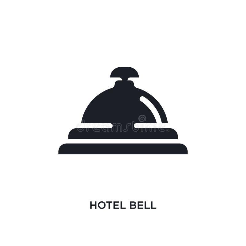 schwarze lokalisierte Vektorikone des Hotels Glocke einfache Elementillustration von den Konzept-Vektorikonen der Reise 2 editabl vektor abbildung