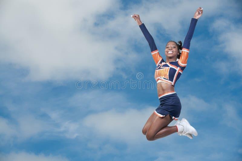 Schwarze Mädchen-Cheerleader lizenzfreie stockbilder