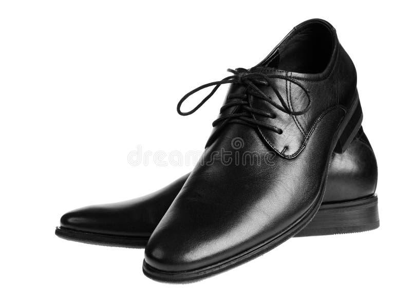 Schwarze männliche Schuhe Lokalisiert auf Weiß lizenzfreies stockfoto