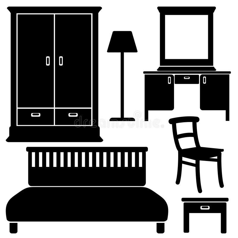Schwarze Möbelikonen, Schlafzimmersatz,  lizenzfreie abbildung