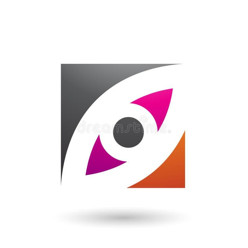 Schwarze Magenta und orange Auge formten quadratische Vektor-Illustration stock abbildung
