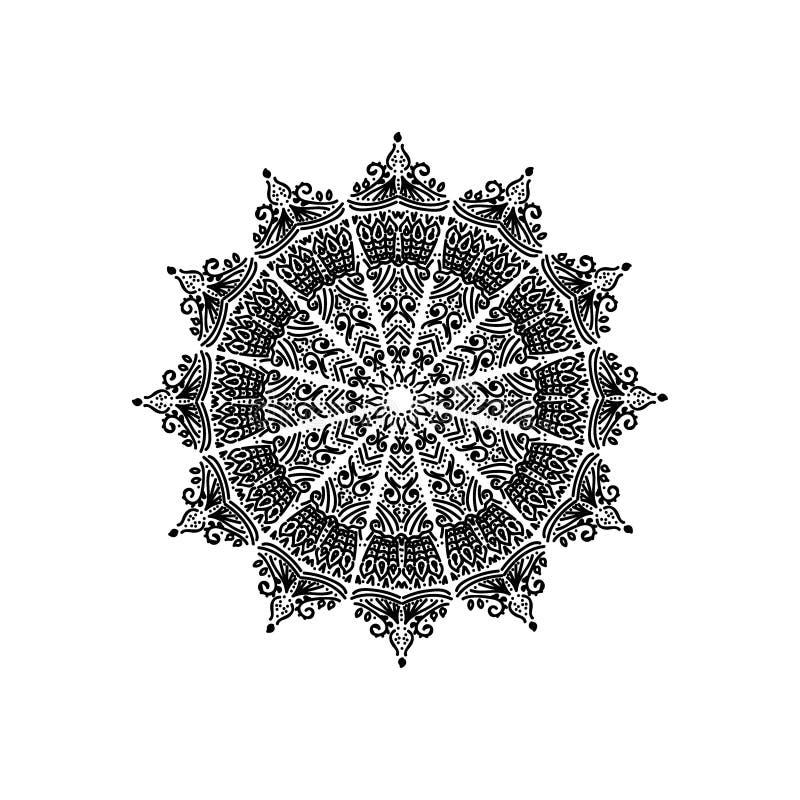 Schwarze Mandala auf weißem Hintergrund lizenzfreie abbildung