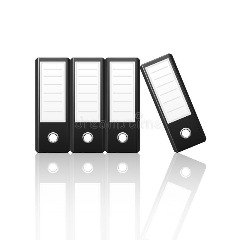Schwarze Mappen vertikal auf weißem backgroun lizenzfreie abbildung