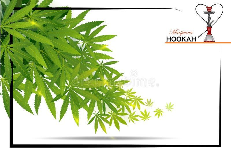 Schwarze Marihuanahuka und grünes Blatt des Marihuanas vektor abbildung