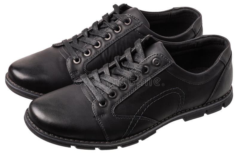 Schwarze men's tägliche Schuhe lokalisiert auf Weiß stockfoto