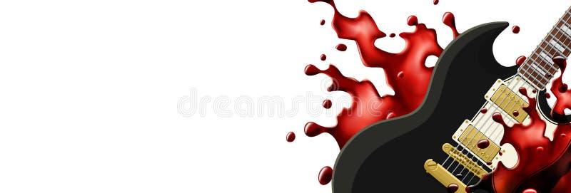 Schwarze Metallgitarre mit einer Blutspritzen-Fahnenschablone mit weißem Hintergrund vektor abbildung